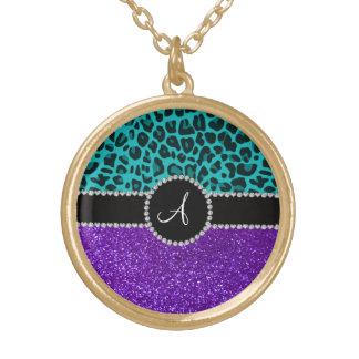 Monogram indigo purple glitter turquoise leopard round pendant necklace