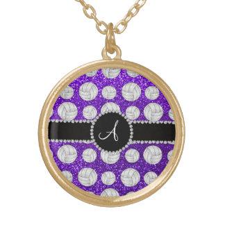 Monogram indigo purple glitter volleyballs round pendant necklace