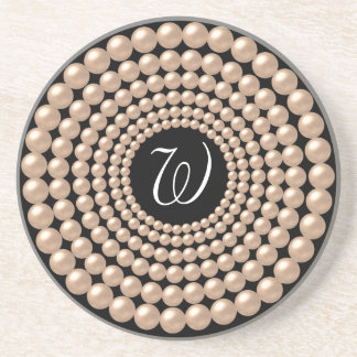 Monogram Individualized Pearl Beads Coaster
