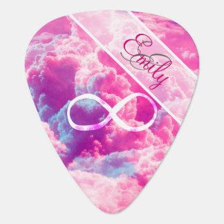 Monogram Infinity Symbol Bright Pink Clouds Sky Guitar Pick