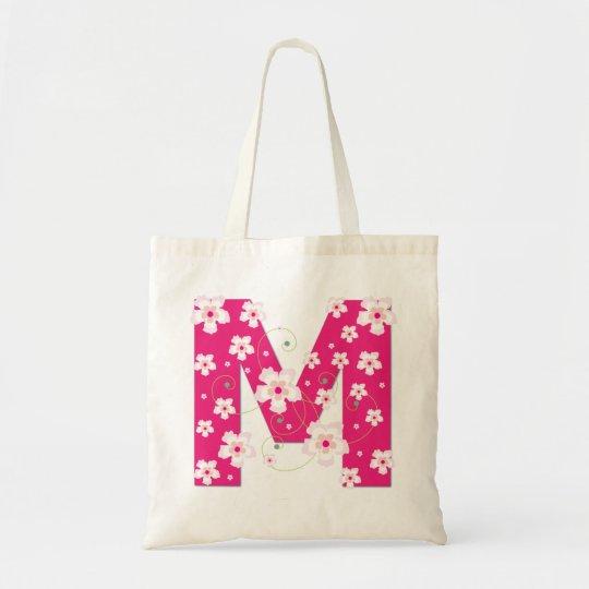 Monogram initiaI M floral flowery pretty tote bag