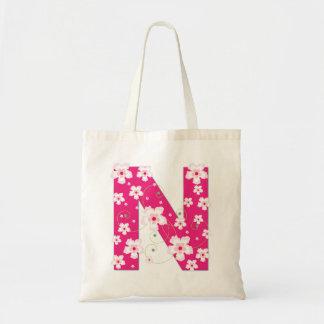 Monogram initiaI N floral flowery pretty tote bag