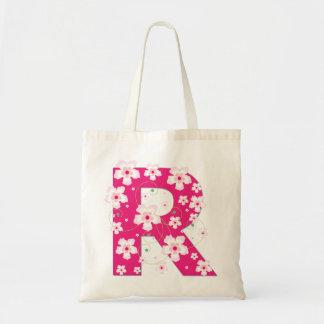 Monogram initiaI R floral flowery pretty tote bag