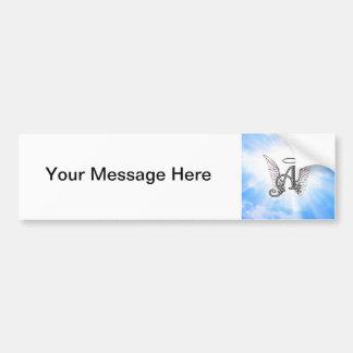 Monogram Initial A, Angel Wings & Halo w/ Clouds Bumper Sticker