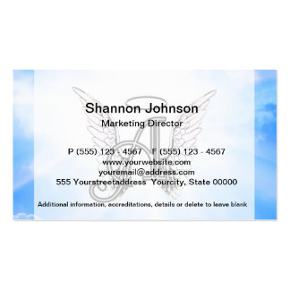 Monogram Initial A, Angel Wings & Halo w/ Clouds Business Cards