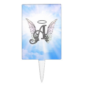Monogram Initial A, Angel Wings & Halo w/ Clouds Cake Topper