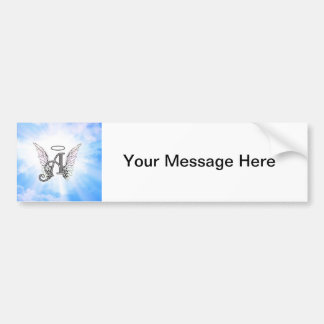 Monogram Initial A, Angel Wings & Halo w/ Clouds Car Bumper Sticker