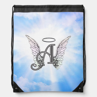 Monogram Initial A, Angel Wings & Halo w/ Clouds Drawstring Backpack
