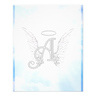 Monogram Initial A, Angel Wings & Halo w/ Clouds Flyer
