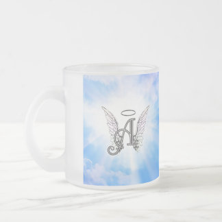 Monogram Initial A, Angel Wings & Halo w/ Clouds Frosted Glass Coffee Mug