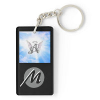 Monogram Initial A, Angel Wings & Halo w/ Clouds Rectangular Acrylic Key Chains