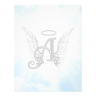 Monogram Initial A, Angel Wings & Halo w/ Clouds Letterhead