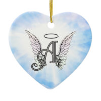 Monogram Initial A, Angel Wings & Halo w/ Clouds Christmas Tree Ornaments