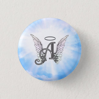 Monogram Initial A, Angel Wings & Halo w/ Clouds Pinback Button
