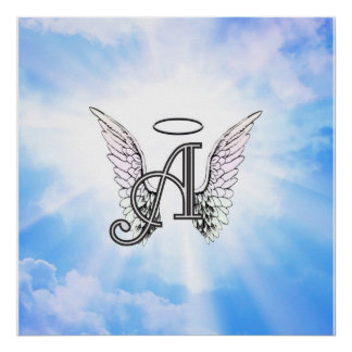 Monogram Initial A, Angel Wings & Halo w/ Clouds Print