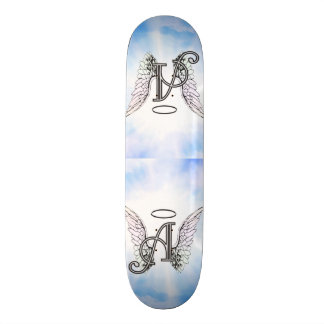 Monogram Initial A, Angel Wings & Halo w/ Clouds Skateboard Deck