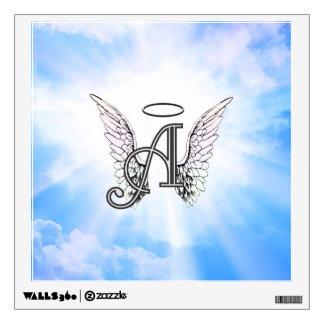 Monogram Initial A, Angel Wings & Halo w/ Clouds Wall Decal