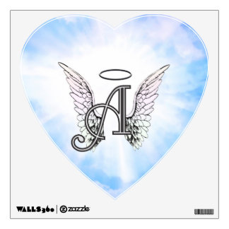 Monogram Initial A, Angel Wings & Halo w/ Clouds Wall Sticker
