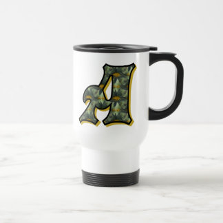 Monogram Initial A Black Daisies Travel Mug