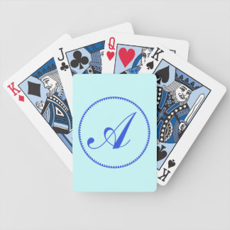 Monogram initial A blue hearts elegant stylish Bicycle Playing Cards