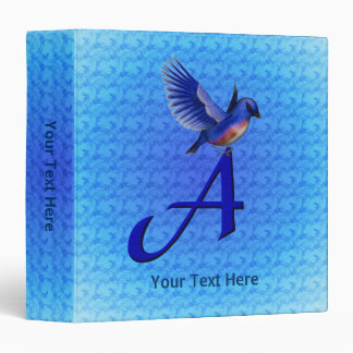 Monogram Initial A Bluebird Binder