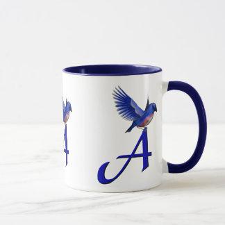 Monogram Initial A Bluebird Mug