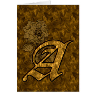 Monogram Initial A Gold Peony Blank Card