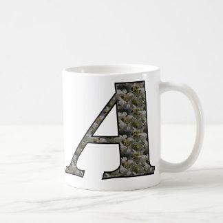 Monogram Initial A Hydrangea Floral Mug