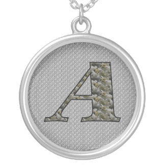 Monogram Initial A Hydrangea Floral Necklace