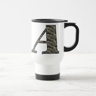 Monogram Initial A Hydrangea Floral Travel Mug