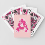 Monogram initial A pink floral, flowers hibiscus Card Deck