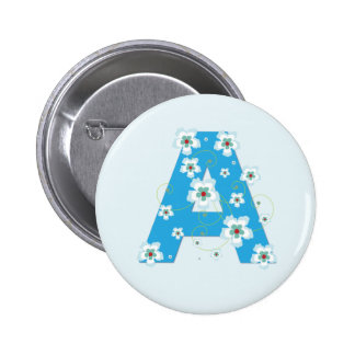 Monogram initial A pretty blue floral button, pin
