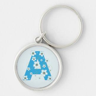 Monogram initial A pretty blue floral keychain