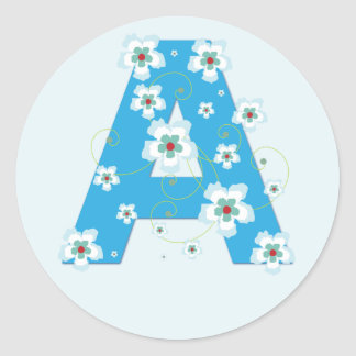 Monogram initial A pretty blue floral stickers