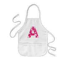 Monogram initial A pretty floral kids, girls apron