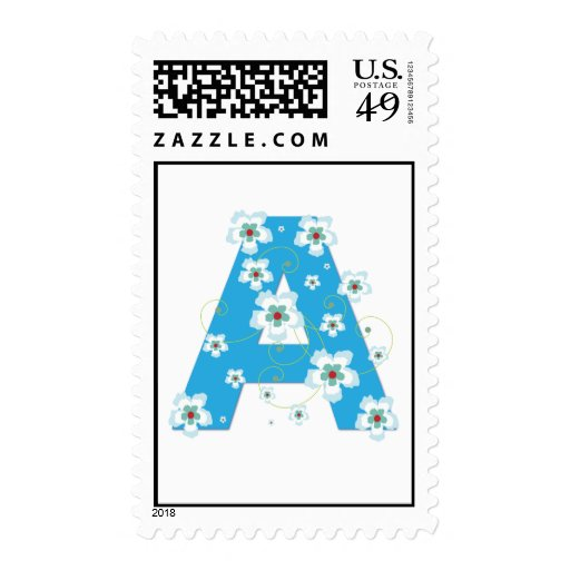 Monogram initial A pretty floral postage stamp