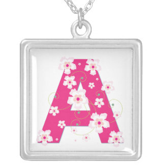Monogram initial A pretty pink floral necklace