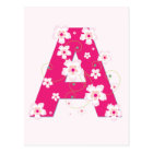 Monogram initial A pretty pink floral postcard