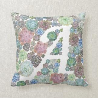 Monogram initial A Succulents design pillow