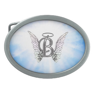 Monogram initial B alphabet letter with angel wing Belt Buckle