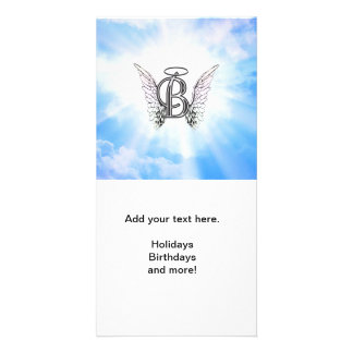 Monogram initial B alphabet letter with angel wing Card