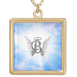 Monogram initial B alphabet letter with angel wing Gold Plated Necklace