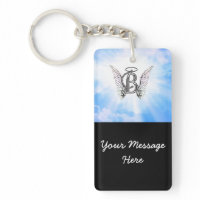 Monogram initial B alphabet letter with angel wing Rectangular Acrylic Key Chains