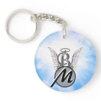 Monogram initial B alphabet letter with angel wing Key Chain