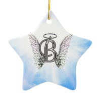 Monogram initial B alphabet letter with angel wing Ornament