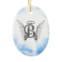 Monogram initial B alphabet letter with angel wing Christmas Tree Ornaments