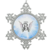 Monogram initial B alphabet letter with angel wing Ornaments