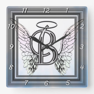 Monogram initial B alphabet letter with angel wing Square Wall Clock