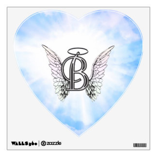 Monogram initial B alphabet letter with angel wing Wall Sticker