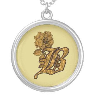 Monogram Initial B Gold Floral Design Necklace